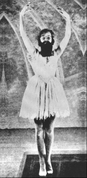 Francis Picabia as a ballerina in 'Entr'acte', 1924, René Clair